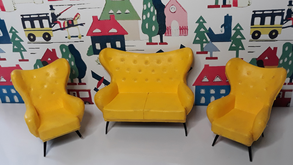 Triang yellow wing settee wing chair
